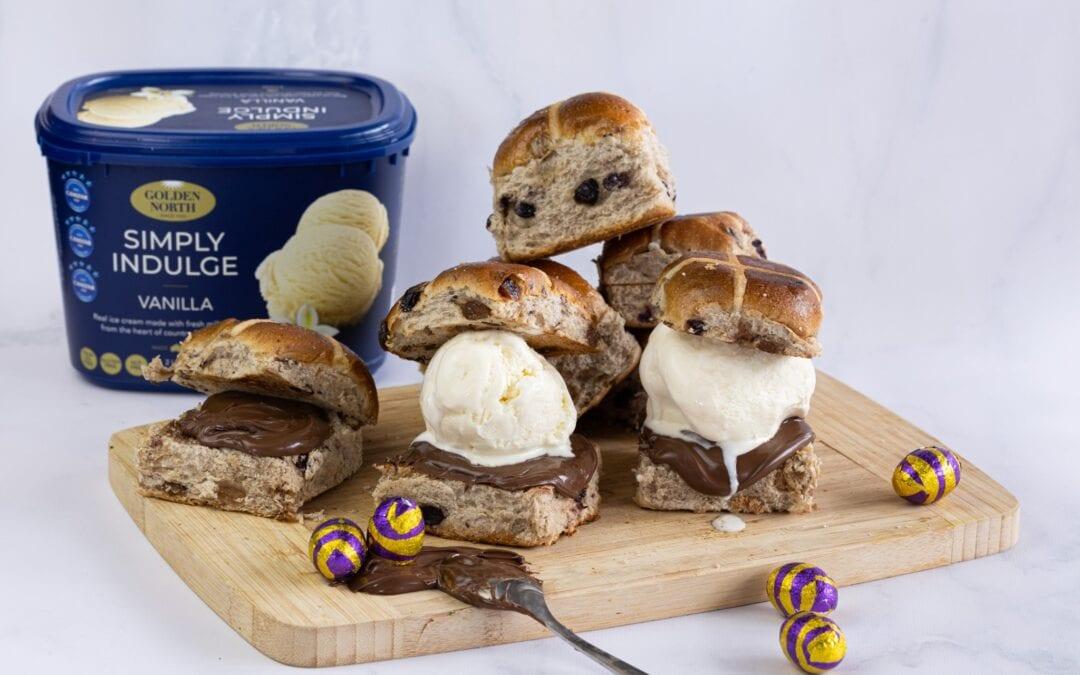 Easter Hot Cross Bun Ice Cream Sandwich